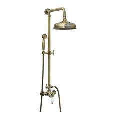 ENKI - Enki 204 mm Shower Set Brass Thermostatic Sequential Antique Bronze Traditional - Bath & Shower Tap Sets