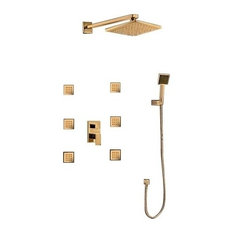 """Ancona Wall Mounted Gold Finis Shower Head With Body Massage Jets, 8"""""""