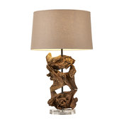 Teak Root Table Lamp, 8x14""