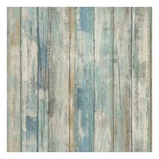 RMK9052WP Blue Distressed Wood Peel and Stick Wallpaper, Bolt