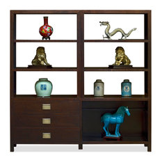 Espresso Elmwood Chinese Zen Bookcase