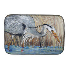 Blue Heron in the Reeds Dish Drying Mat
