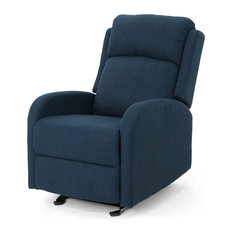 Rocking Recliner Polyester Upholstery With Padded Seatback Navy Blue