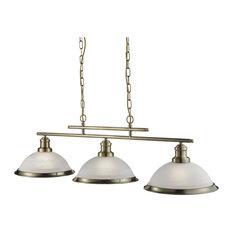 Bistro 3-Light Industrial Bar Pendant, Antique Brass