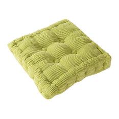 Square Thicken Cushion Tatami Floor Cushion, Car Pillow, Green