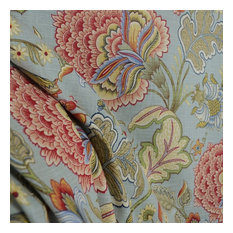 microfibers - Meadowlark Surf Floral Blue Jacobean Fabric, Sample - Drapery Fabric