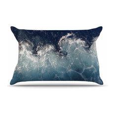 """Suzanne Carter """"Sea Spray"""" Navy Ocean Pillow Sham, 40""""x20"""""""