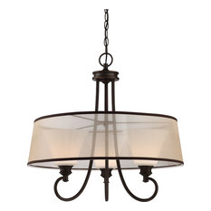 Tess LED Pendant With Frosted Fluted Glass, Oil-Rubbed