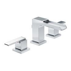Delta Ara 2-Handle Widespread Faucet, Metal Pop-Up, Channel Spout, Chrome