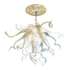 Blown Glass Chandelier - White Chandelier - Art Glass Lighting - Chandelier