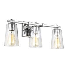 """Feiss VS24303 Mercer 3 Light 21-1/2"""" Bathroom Vanity Light With Seeded Glas"""