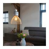 Country Round Pendant Lamp 35cm Rattan with Aluminium Details - Anteros Rattan