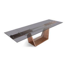 Modrest Babia Modern Smoked Glass and Walnut Extendable Dining Table