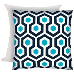 Joita, llc - Wired Indoor/Outdoor Zippered Pillow Cover With Insert - Wired is a bold geometric pattern in bright, clean colors of navy, aqua and white. Constructed with an outdoor rated zipper, thread and fabric. Printed pattern on polyester fabric. To maintain the life of the pillow cover, bring indoors or protect from the elements when not in use. Machine wash on cold, delicate. Lay flat to dry. Do not dry clean. One cover with zipper and one insert included.