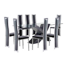 Valencia Glass Large Dining Table, 8 Elsa Leather Chairs, 200 cm, Black