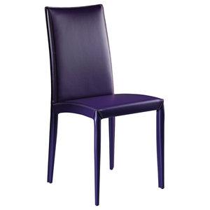 Aisha Leather Chairs, Set of 2, Blue, Tall