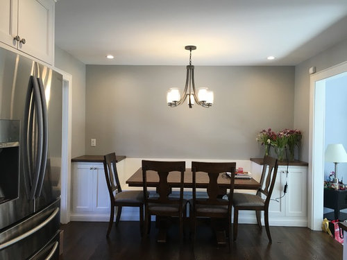 Decor for above kitchen banquette and side cabinets. on