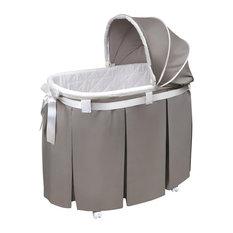 Badger Basket Co. Wishes Oval Bassinet, Full Length Skirt, Gray Bedding