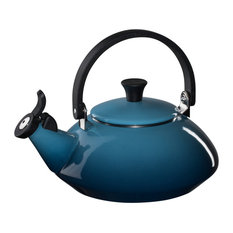 Le Creuset Enamel on Steel 1.6 Quart Zen Tea Kettle, Marine Blue