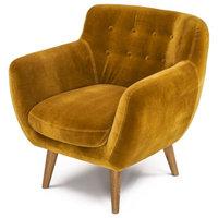 Rhodes Mid-Century Modern Tufted Arm Chair, Antique Gold