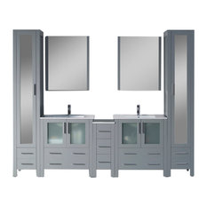 "Sydney 102"" Vanity Set With Mirror Linen Cabinet, Glossy White, Metal Gray"