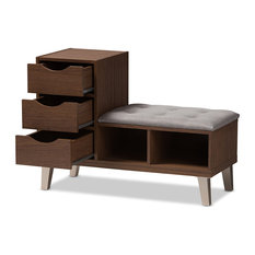 Contemporary Wood 3-Drawer Shoe Storage Upholstered Seating Bench, Two Shelves