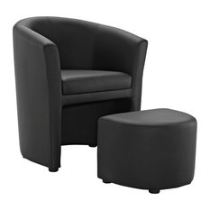 Divulge Faux Leather Armchair And Ottoman Black
