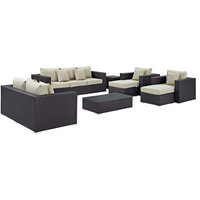 Convene 9-Piece Outdoor Wicker Rattan Sofa Set, Espresso Beige