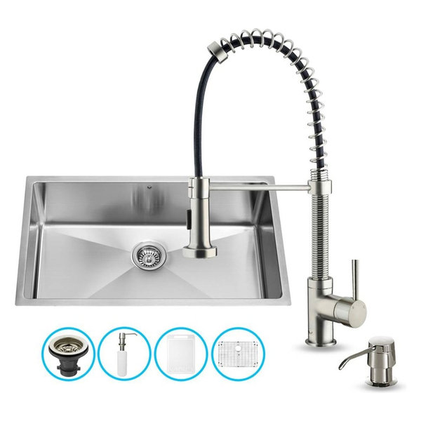 Undermount Rectangular Kitchen Sink and Faucet Set With Grid