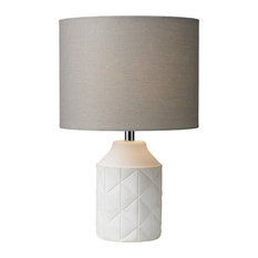 The Lighting and Interiors Group - Luca Table Lamp, Grey and White - Table Lamps
