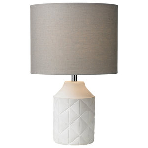 Luca Table Lamp, Grey and White