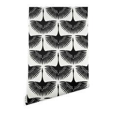 Deny Designs Caroline Okun Majestic Crane Wallpaper, Black, 2'x10'