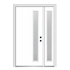 """Frosted 1-Lite Fiberglass Smooth Door With Sidelite, 51""""x81.75"""", LH In-Swing"""