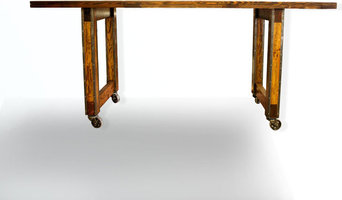 industrial dining table on casters