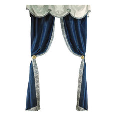 "Luxurious Window Curtain, Blue Away, 100""x100"""