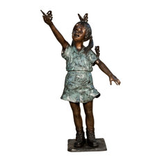 Girl With Butterflies Bronze Sculpture