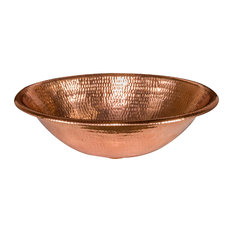 "19"" Oval Self Rimming Hammered Copper Bathroom Sink, Polished Copper"