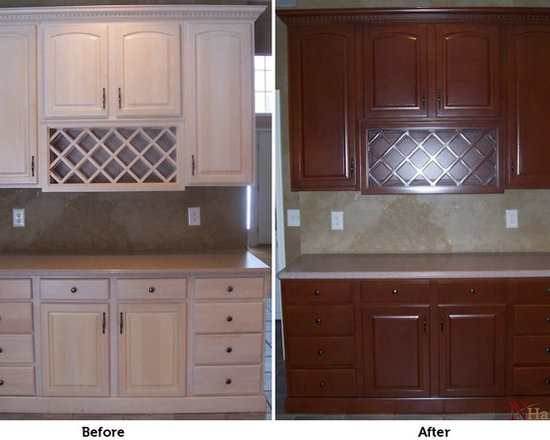 kitchen cabinet refinishing - color change - whitewash to cherry