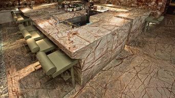 Использование мрамора в баре Hydra