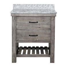 Single Fir Sink Vanity Driftwood With Carrara White Marble Top, Gray, 30""