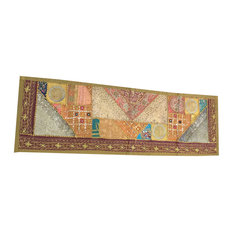 Mogul Interior - Consigned Green Sari Patchwork Sequin Embroidered Tapestry - Table Runners
