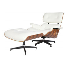 Aniline Leather Lounge Chair and Ottoman, Seat: White, Base: Palisander