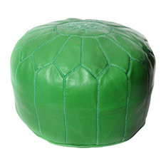 Moroccan Leather Pouf, Green