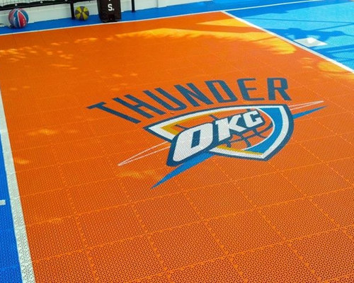 Snapsports® - Backyard Home Basketball Court W/ Custom Okc Theme Logo