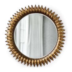 Sun Flower Mirror, Large, Antique Gold