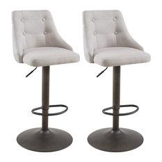 Set of 2, Tufted Upholstered Adjustable Swivel Stool, Beige