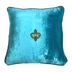 Turquoise Blue Aqua Velvet Pillow, Removable Pin, Goldfleur