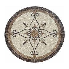 "Mosaic Honed Floor Medallions Tile Medallion Marble Inlay, 48"""