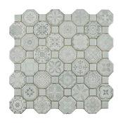 "12.25""x12.25"" Tesseract Ceramic Floor/Wall Tiles, Set of 13, White"