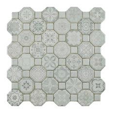 """SomerTile 12.25""""x12.25"""" Tesseract Ceramic Floor/Wall Tile, Case of 13, White"""
